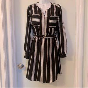 Mossimo black striped dress sz M with belt